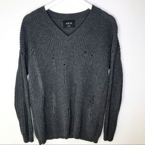 ACTIVE USA Gray Distressed V neck knit sweater